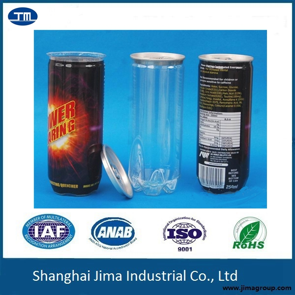 250ml, 330ml,350ml PET easy open can for beverage, PET can for soda, beer, hot filling and cold filling PET can