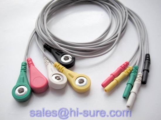 Medical cable 5 lead ECG cable for ECG equipment with snap connector