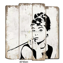 AUDREY HEPBURN SHABBY CHIC WOODEN SIGNS WALL MOUNTED HOME DECORATION