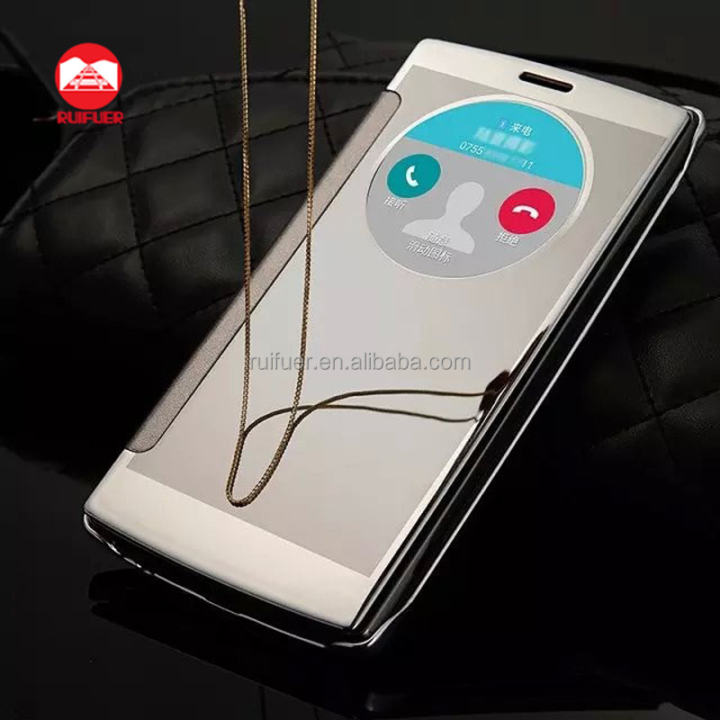 2016 New Arrive Luxury Plating Touch Sensitive Clear View Smart Flip Mirror Case for LG G4