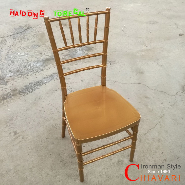 Ironman Style Gold Color PP Resin Chiavari Chair with Metal Bone