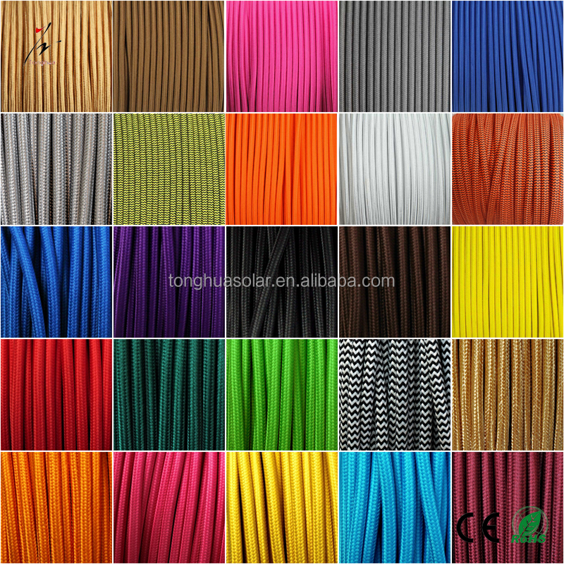 CE Certification Colorful Round Braided Wire 2/3*0.75mm Cloth Covered Braided Electrical Wire