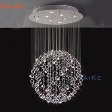 Modern LED ball shaped crystal chandelier for staircase