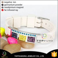 Fashion Crystal Jewelry Bio Elements Energy Stainless Steel Cheap Custom Adjustable White Silicone Wristband Bracelet With Logo