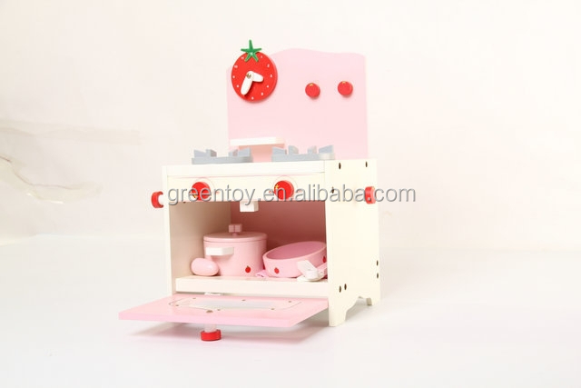 Wooden toy strawberry mini kitchen play set cooker toy