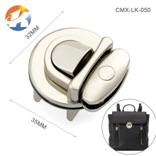 Professional Custom Nickel Metal Push Lock For Handbags