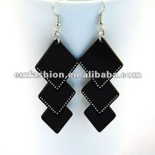 Fashion plain black acrylic earring with steal ball