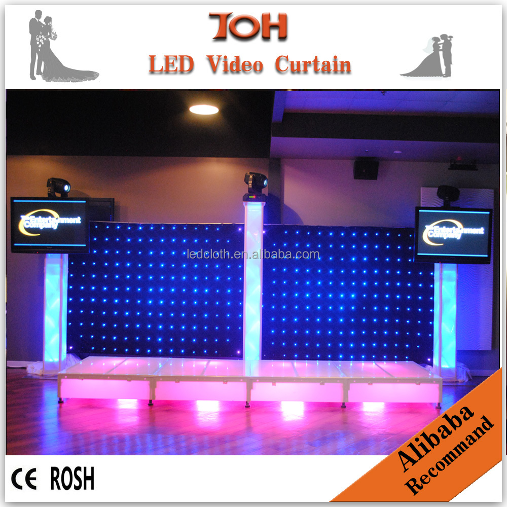 2016 rental flexible video led curtains for stage backdrops,xxx photo led video cloth blue firm video