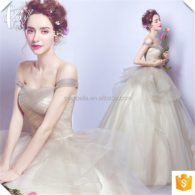 China Supplier Custom Made Cap Sleeve Ball Gown Champagne Wedding Dress 2016 Puffy Ball Gown