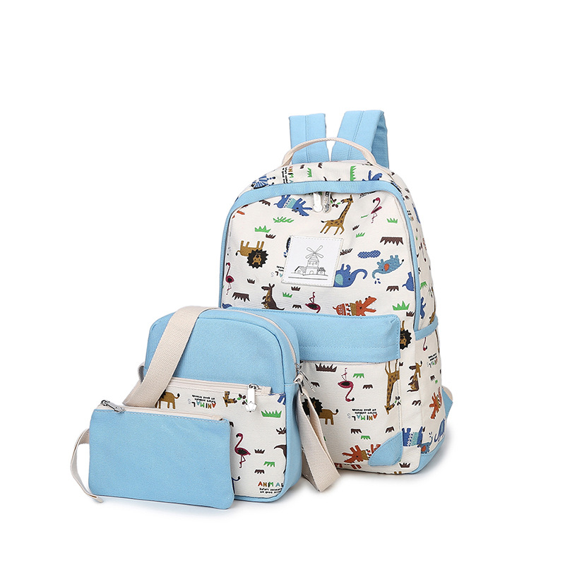Plain Color Women Canvas Backpack Schoolbag School Bags For Boy Girl Teenagers Ladies Casual Travel Backpacks
