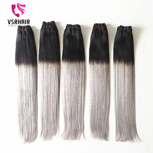 Brazilian human hair weft, ombre 1b/grey hair weaving ombre hair extension