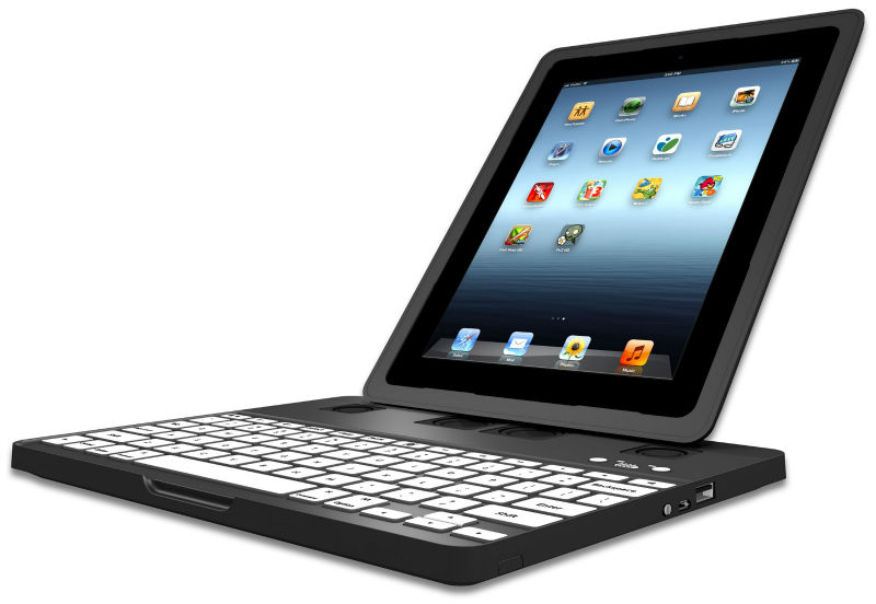 Revolutionary Keyboard Case for iPad + 5000 mAh Backup Battery, 2.1 Stereo System, Many Stands, Many Mounts and more.