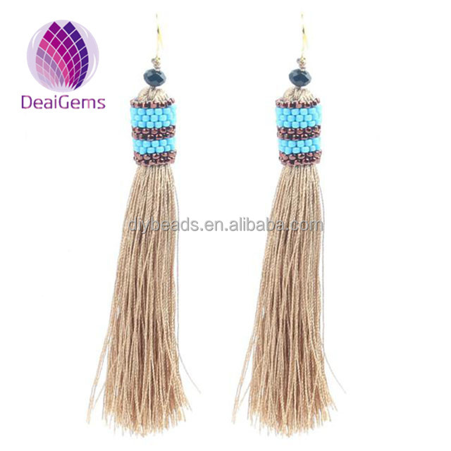wholesale women boho seed bead cap polyester silk thread tassel <strong>earrings</strong>