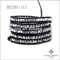 New fashion style Crystal CAL Wrap Bracelet on Pacific Blue Leather