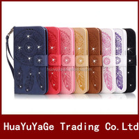 Campanula Flower Diamond Wallet ID Card Holder leather case for Apple iphone 5 5S SE