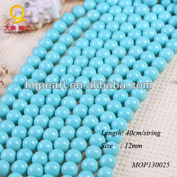 fashion 12mm blue round seashell pearl strands for making jewelry