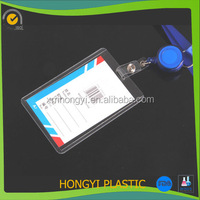 waterproof transparent PVC Office Card Name Tag Holder PVC Badge with Lanyard