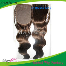 Top sale body wave silk based closure brown color 4x5/5x5 virgin Peruvian hair pieces can add clips sew