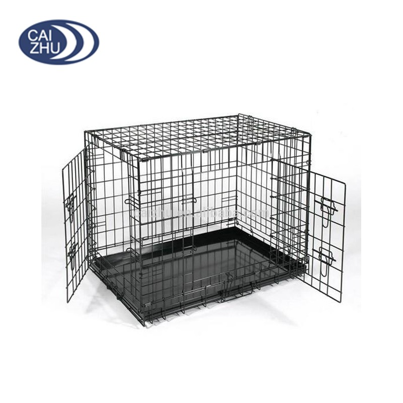 Foldable Suitcase Wire Metal Folding Pet Cage Crate Dog Kennel
