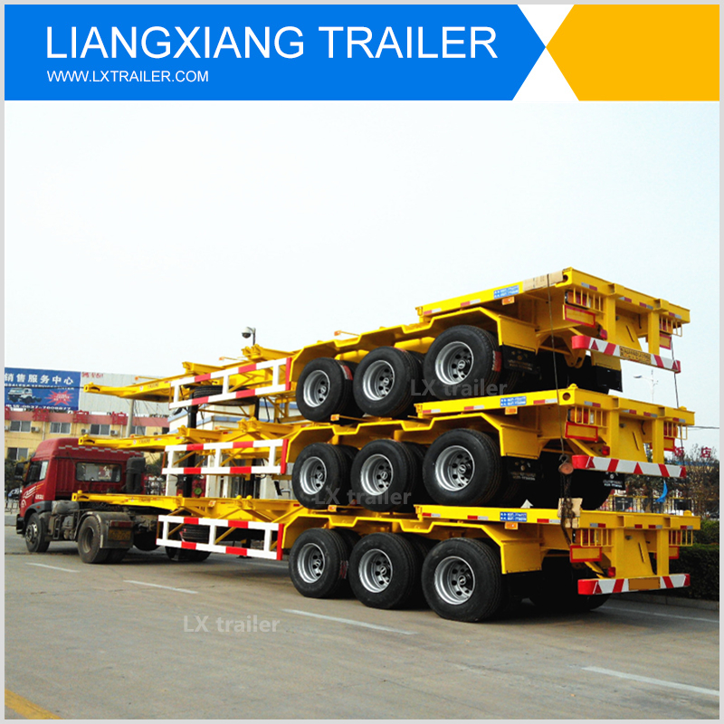 Fuwa 3 axles skeletal semi trailer container chassis with low cost