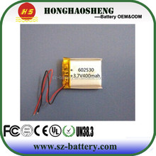 hot sale best price rechargeable small li polymer battery 602530 430mah