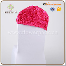 high quality beautiful satin flower chair head covers