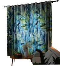 Modern curtains leaves design print blackout drapery living room curtain free simple curtain