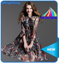 womens latest high quality printed chiffon traditional slim fitted dresses with bow