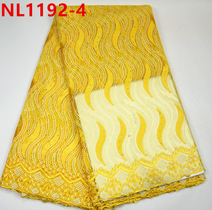 Guangzhou Yellow african lace embroidery fabric/nigerian tulle lace african french lace for women dresses