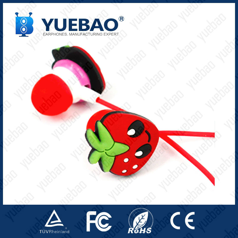 Custom shape 3D strawberry earphone with tube packaging