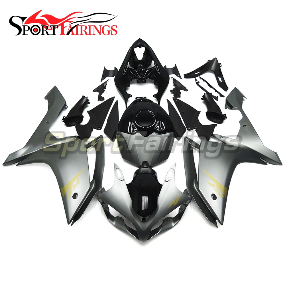 Full Fairings For Yamaha YZF <strong>R1</strong> <strong>07</strong> 08 ABS Plastic Injection Motorcycle Grey Gold Decals Bodykit