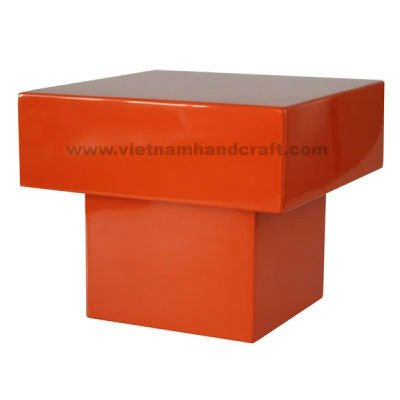 Quality eco-friendly handcrafted vietnamese lacquer stool in solid orange