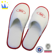 white embroidered terry towelling thong luxury spa slippers