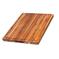 Teak Cutting Board - Rectangle Board With Hand Grip And Juice Canal