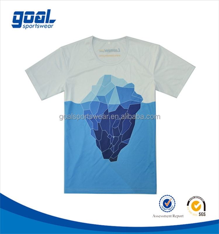 Simple white and blue color 100 polyester sublimation sport t shirt