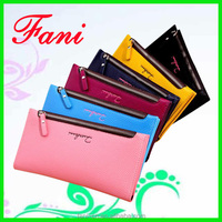 Fancy credit card holder with single zipper design hand purse for ladies