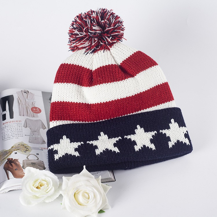 Korean Five-pointed Star Striped Wool Ball Warm Winter Knitted Hat