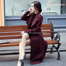 2020 new season fashion long style women woolen wool coat ladies skinny winter coat for wholesale