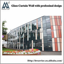 Decorative glass facade for exterior wall