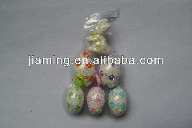 easter decoration items with egg and rabbit