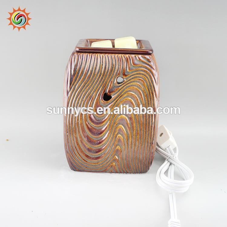 Wood grain ceramic plug in wax incense burner wholesale tart warmers