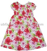 flower printing cotton woven girls dress