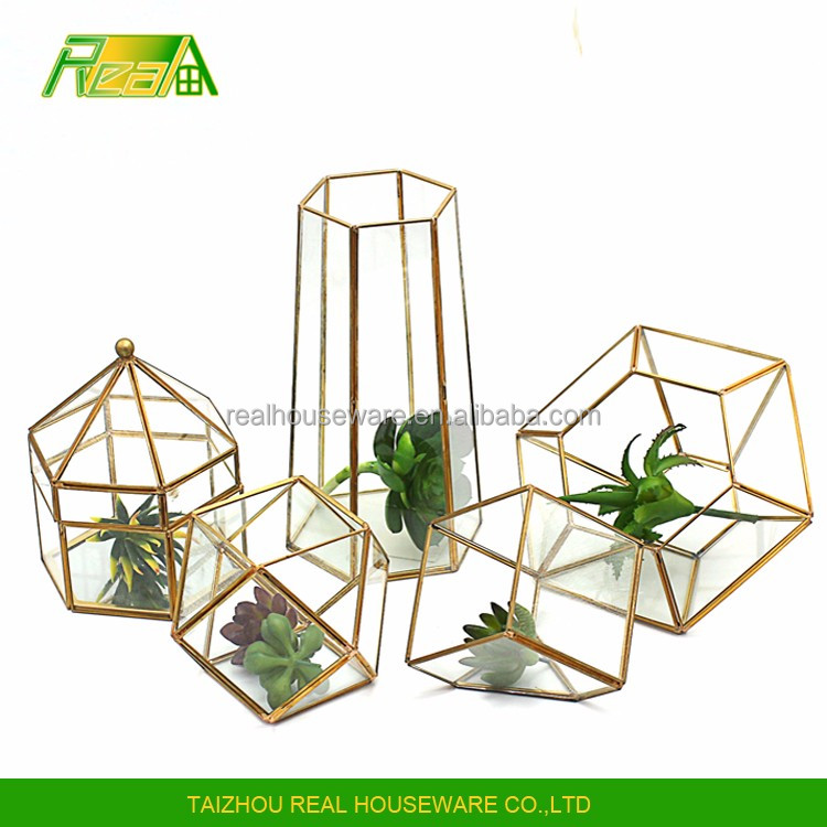 Wholesale PriceAir plant glass with copper frame gold color glass terrarium glass storage container