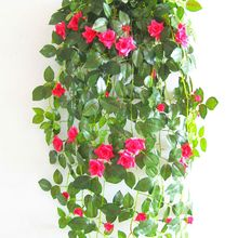 Rose Garland Artificial Rose Vine with Green Leaves Flower Garland For Home Wedding