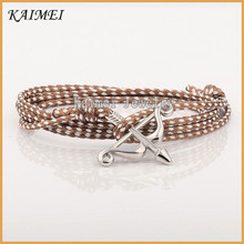 Cheap Handmade Men Logo Custom Stainless Steel Bow And Arrow Nylon Wax Cord Bracelet