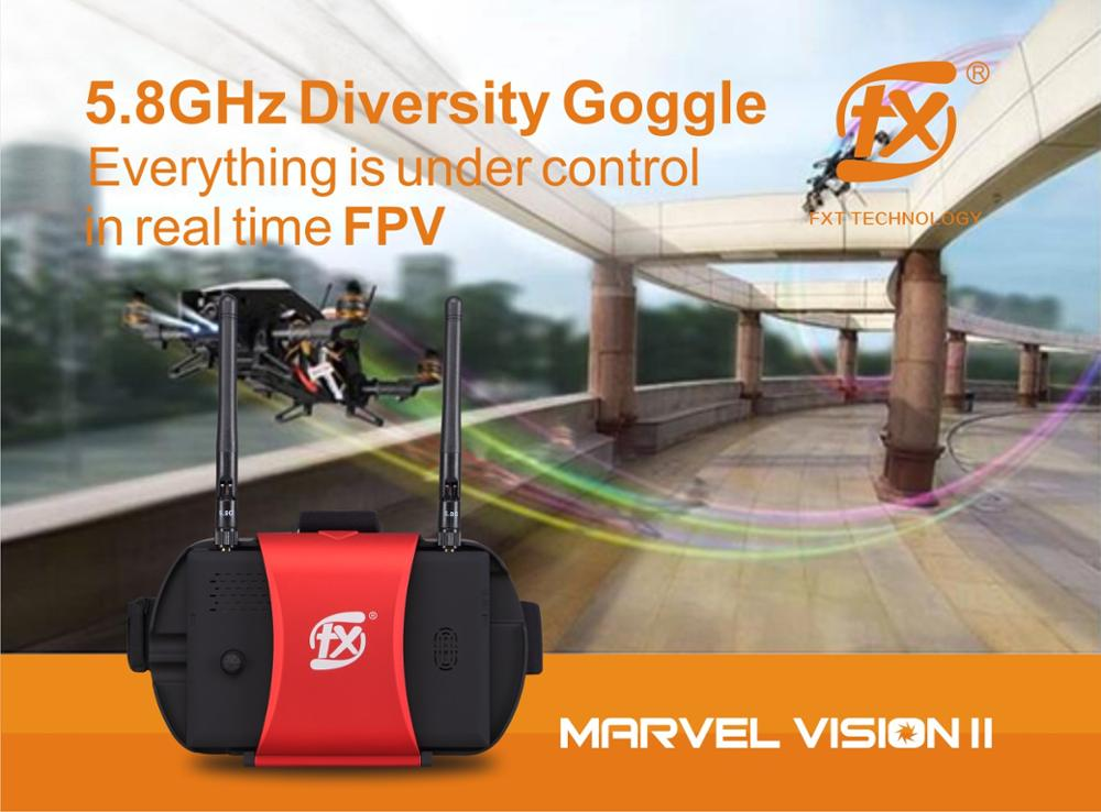 2017 New Marvel Vision II Diversity receiver drone racing Goggle DVR HDMI FPV Goggles/Video Glasses rx480