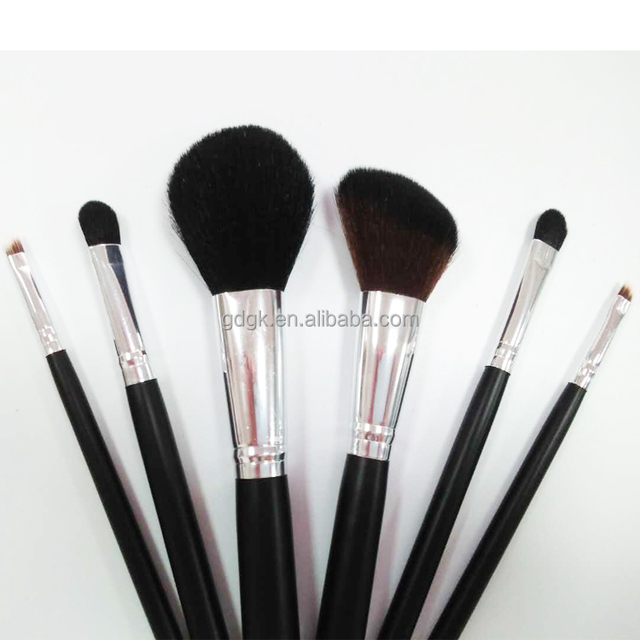 Hot sale goat hair oval makeup wood handle private label makeup brush with black hair