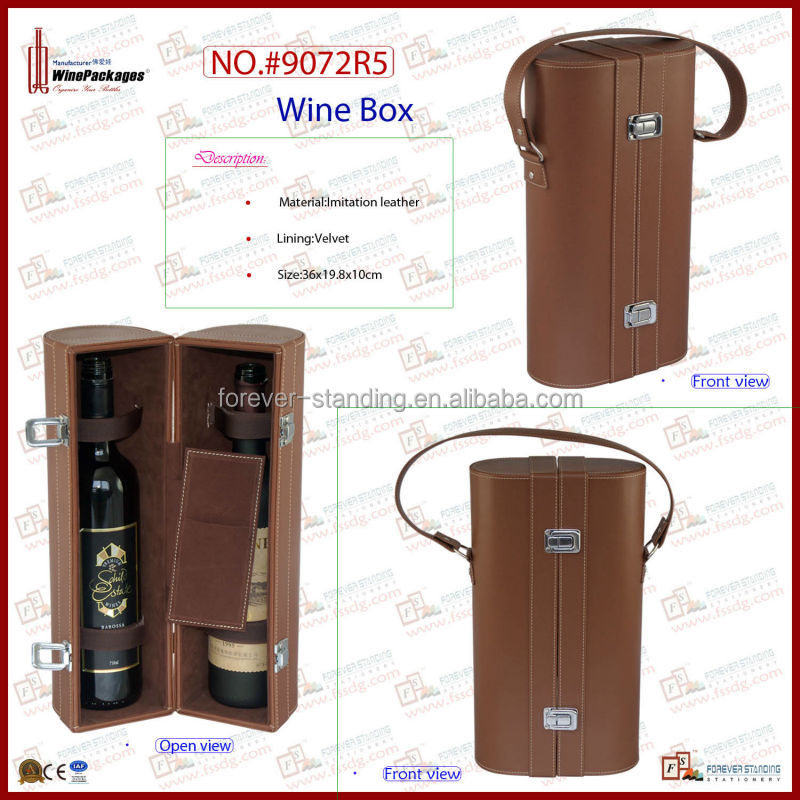 Luxury box packaging for wine two bottles leather box