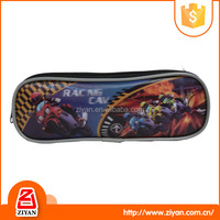 Best gift for kids black motorcycle car pattern cheap price 300d material pencil case