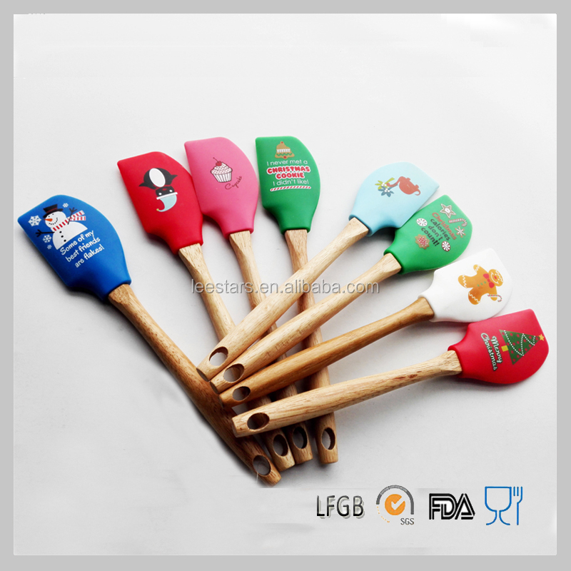Christmas Tree Printing Silicone Spatula/ Snowmen printing Spatula With Wooden Handle